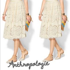🗝 Anthropologie Champagne & Strawberry Midi Skirt